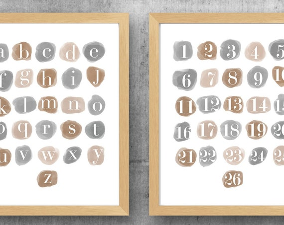 Neutral ABC 123 Prints for Baby or Toddler's Bedroom, Set of 2