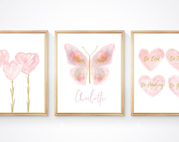 Blush Butterfly Wall Decor, Set of 3 Personalized Flowers and Heart Prints