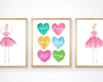 Inspirational Ballet Prints, Set of 3, Sparkle, Shine, Love, Laugh, Ballerina Bedroom, Young Dancer Gift, Kids Dance, Ballerina Birthday