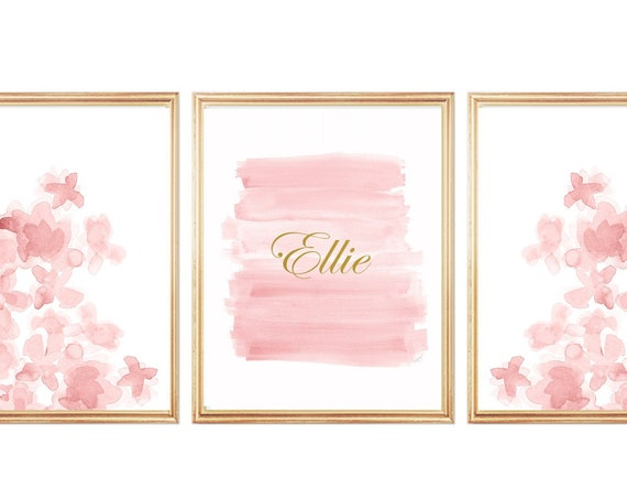 Baby Nursery Prints in Blush and Gold, 11x14 Set of 3