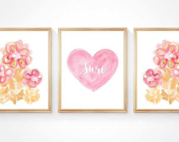 Set of 3, Abstract Flower Prints with Personalized Heart of Butterfly