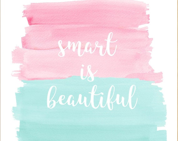 Inspirational Wall Decor for Girls; Smart is Beautiful Print