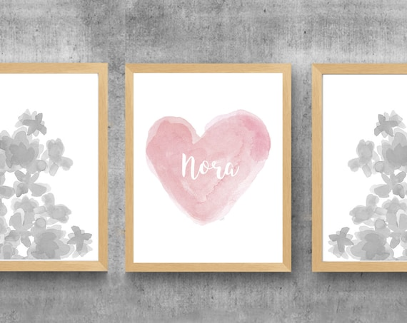 Dusty Rose Flower Prints, 11x14 Set of 3, Rose and Gray Wall Decor,  Rose and Gray Prints, Girls Prints in Rose and Gray, Girls Wall Decor