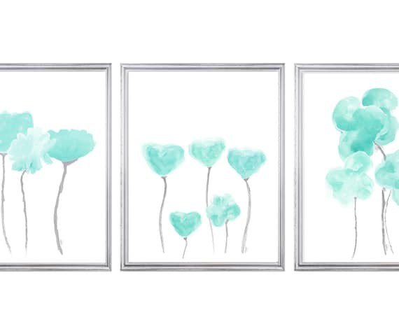 Aqua Floral Wall Art, 11x14- Set of 3 Prints