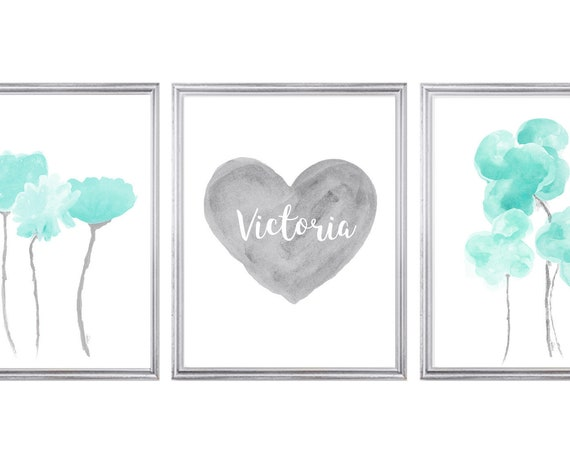 Aqua and Gray Girls Wall Art, 11x14-Set of 3 Prints