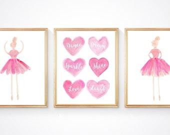 Dance Prints, Sparkle, Shine, Love, Laugh, Set of 3 Ballerina Prints, Inspirational Ballerina, Ballet Wall Art, Young Ballerina Present
