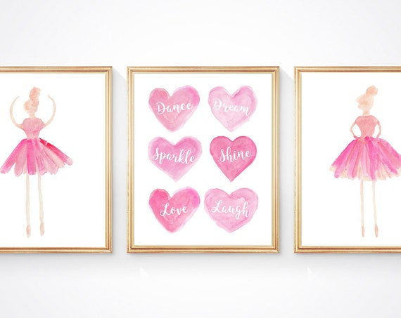 Inspirational Dance Prints, Sparkle, Shine, Love, Laugh, Set of 3 Ballerina Prints