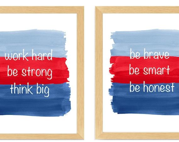 Boys Inspirational Prints, Set of 2 Quotes