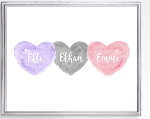 Gift for Boy Girl Triplets; Personalized Watercolor Print in 8x10