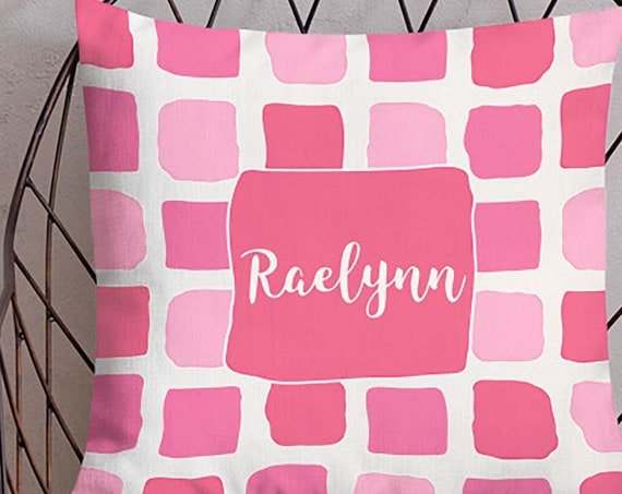 Personalized Pink Pillow for Girls, 18x18