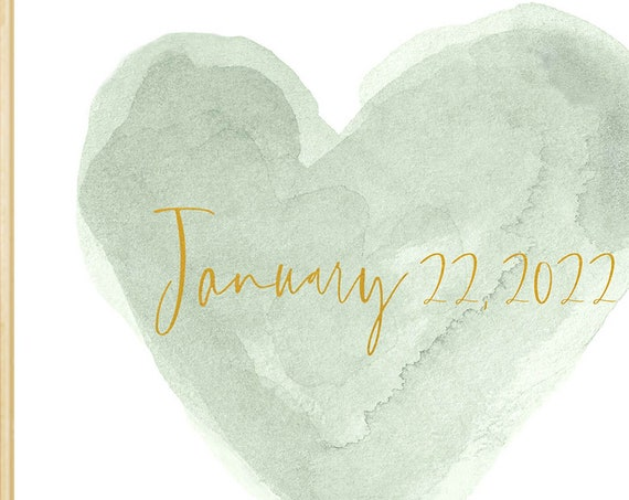 Sage Wedding Date Print Personalized with Gold Lettering