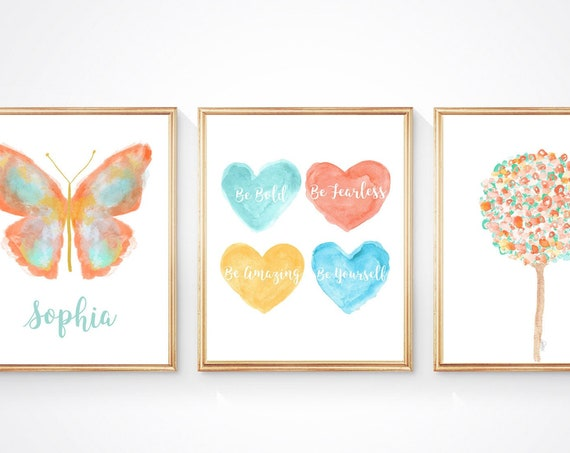 Tween Inspirational Prints, Set of 3, Abstract Butterfly and Heart Artwork