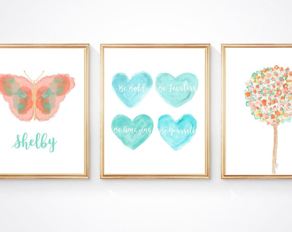 Tween Bedroom Decor, Set of 3 Coral and Aqua Bedroom Print with Butterfly and Hearts
