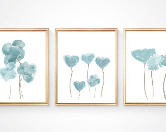 Teal Wall Decor, Set of 3 Watercolor Floral Prints