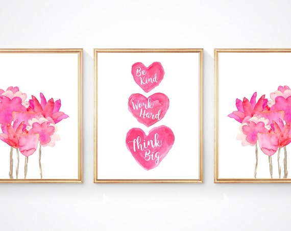 Tween Inspirational Wall Decor, Set of 3 Flowers and Heart Prints