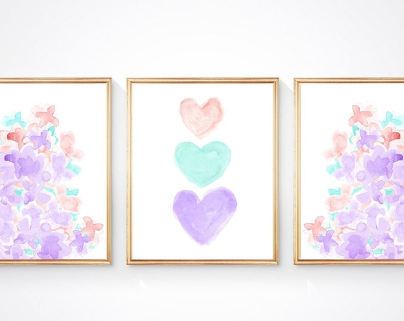 Lavender, Turquoise and Blush Flower Prints for Girls Bedroom Prints, 8x10-Set of 3