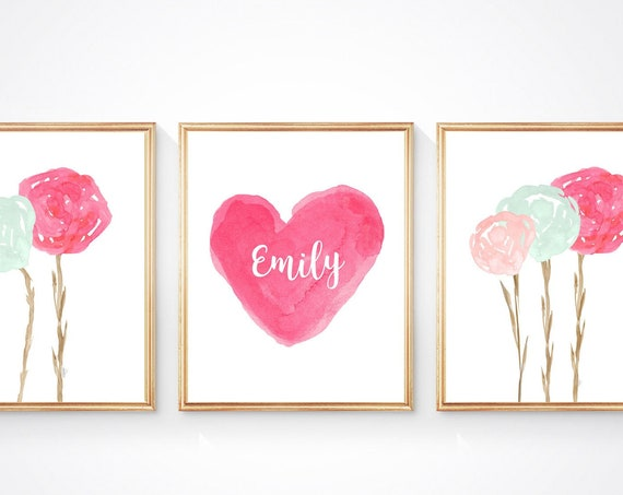 Pink and Mint Floral Prints, Set of 3 with Personalized Heart for Girls Bedroom