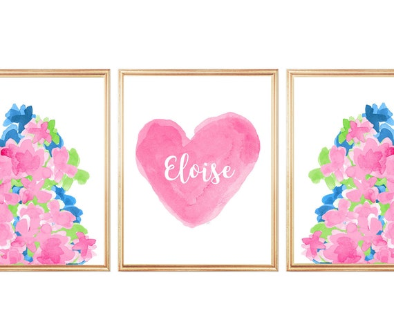 Tropical Flower Prints for Girls Room, 11x14-Set of 3