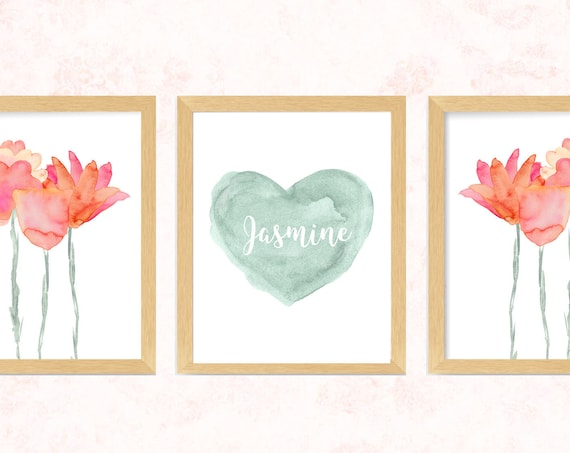 Boho Wall Art for Girls Bedroom; Pink and Coral Flower Prints, 11x14-Set 3