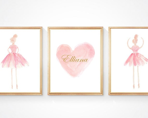 Ballerina Art for Nursery, Set of 3 - 8x10 Blush Prints with Gold or Silver Name