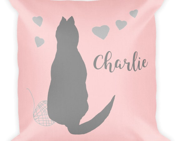 Blush and Gray Personalized Cat Pillow for Little Girl, 18x18