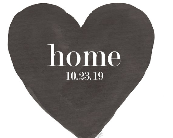 New Home Gift, 8x10, Black and White Heart with Custom Date