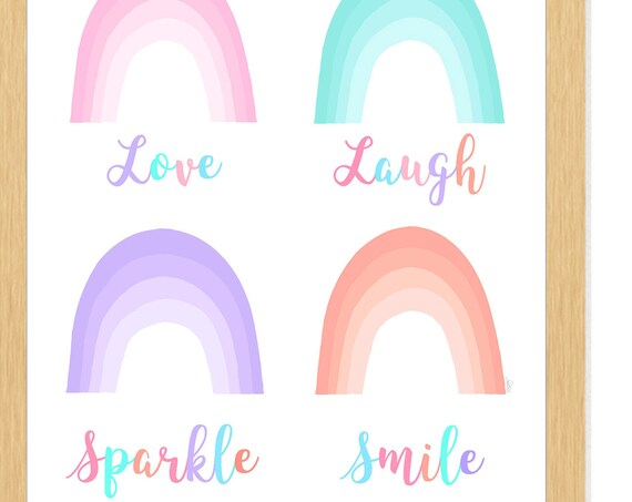 Pastel Rainbow Print; Love, Laugh, Sparkle, Smile