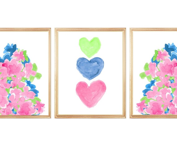 Bright Flower Prints for Girls Room, 8x10-Set of 3 Watercolor Prints