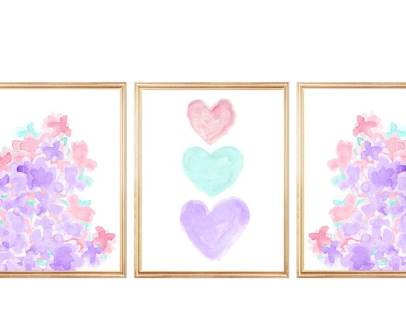 Lavender and Pink Prints, Set of 3, Heart and Flower Prints for Girls Bedroom