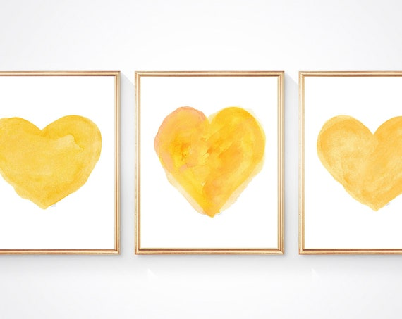 Yellow Heart Prints, Set of 3, Yellow Wall Decor, Yellow Nursery, Yellow Girls Room, Bright Yellow Artwork, Golden Yellow Wall Art