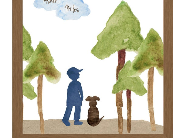 Boy and Dog Hiking; Personalized 8x10 Print
