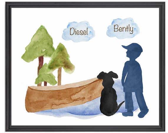 Boy and Dog at Lake Personalized Print