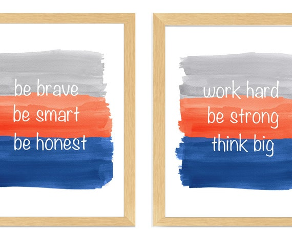 Quotes for Boys Room, Set of 2 Inspirational Watercolor Prints