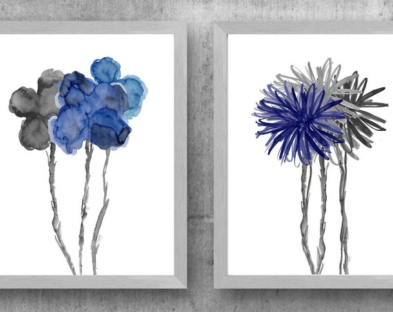 Navy and Gray Floral Artwork, Set of 2 Watercolor Prints