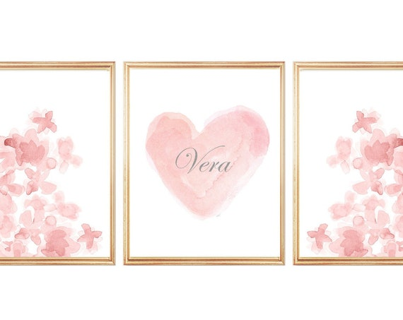 Blush Artwork for Girls Room, Set of 3 Prints Personalized with Silver Name