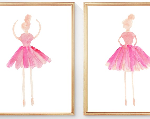 Ballerina Watercolor Artwork, Set of 2