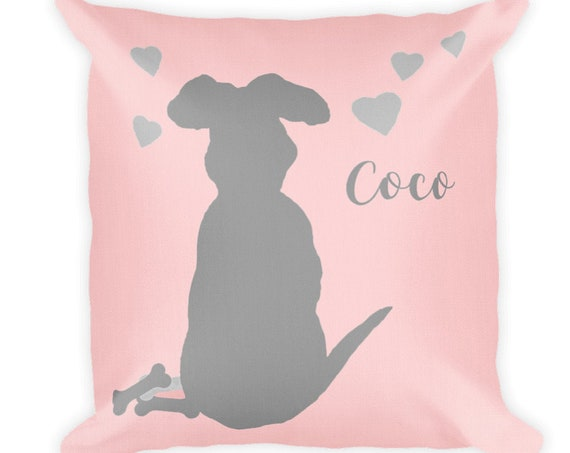 Girls Dog  Pillow in Blush, 18x18 Personalized with Name