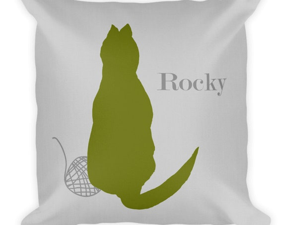 Personalized Cat Throw Pillow In 12 colors, 18x18