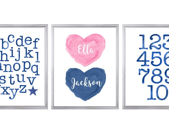 Pink and Navy Playroom Wall Decor, Set of 3 ABC 123 Learning Prints