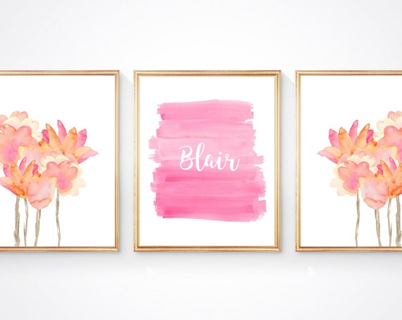 Pastel Flower Print Set, Set of 3- 8x10 Personalized Prints