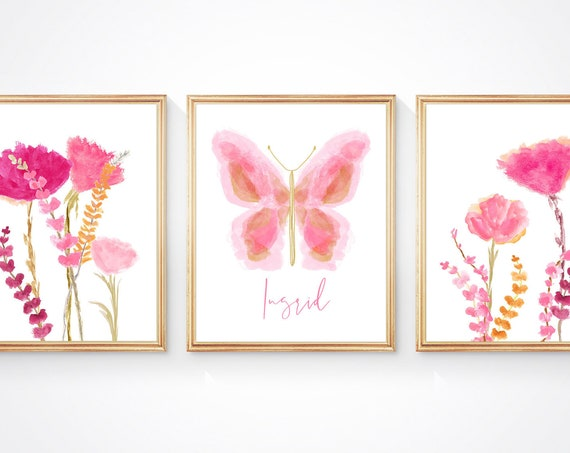 Pink Flowers and Butterfly, Set of 3 Prints for Nature Themed Bedroom or Nursery