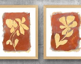 Terracotta Wall Decor, Set of 2 Rust Flower Prints, Terracotta Floral Decor, Natural Wall Decor, Farmhouse Wall Decor, Rust Wall Decor