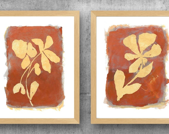 Terracotta Wall Decor, Set of 2 Rust Flower Prints