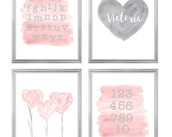 Blush and Gray Gallery Wall for Toddler, Set of 4-8x10 ABC 123 Prints