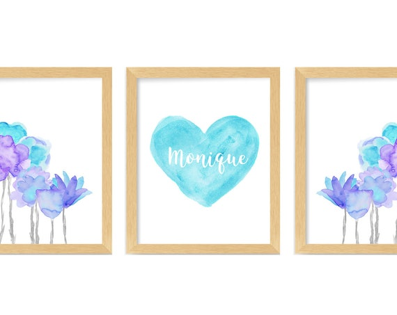 Turquoise and Lavender Flower Prints for Girls Boho Bedroom, 11x14