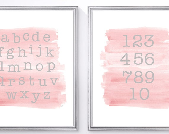 Blush ABC 123 Print Set for Toddler, Set of 2-8x10