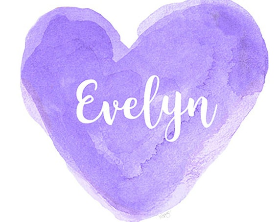 Purple Name Print for Girl, Watercolor Heart in 21 Colors