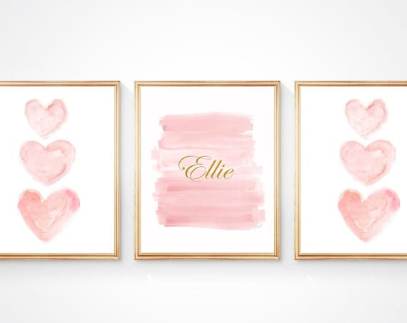Blush and Gold Personalized Nursery Wall Art, Set of 3 - 8x10 Watercolor Prints