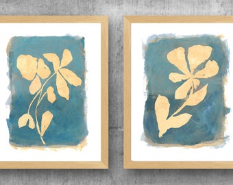 Teal Wall Art, Set of 2 Teal Flower Prints, Botanical Art, Teal Blue Floral Decor, Natural Wall Decor, Farmhouse Wall Decor, Teal Abstract