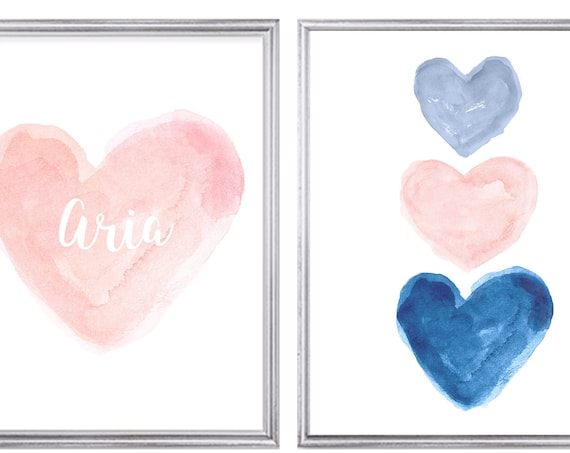 Blush and Navy Print Set, Set of 2 Personalized Prints